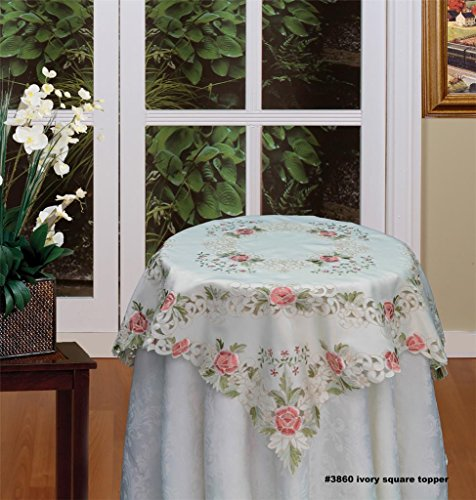 - Creative Linens Embroidered Rose Daisy Floral Tablecloth 33