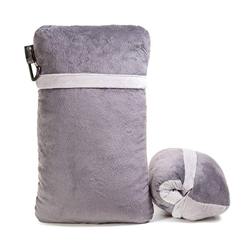 Compact Travel Pillow Made with Shredded Memory Foam and Super Soft Fleece Fabric for Ultimate Comfort in Travel. Patented Design Rolls and Compacts Small for Travel. (Grey)