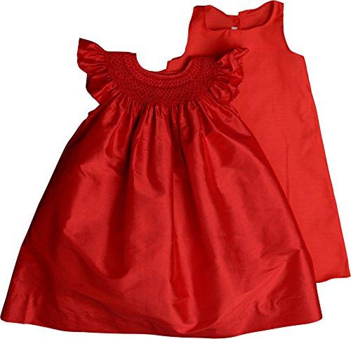 Strasburg Cherry - Strasburg Children Red Flower Girl Dress Toddler Girls Smocked Christmas Dress Silk Formal Bishop 2t