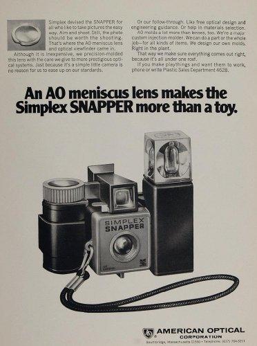 1970 Ad AO American Optical Simplex Snapper Camera - Original Print Ad