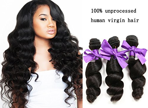 Asteria 20 22 22inch 6a Brazilian Virgin Hair Loose Wave Weaving, 100% Unprocessed Natural Color Strong Double Weft Remy Hair Extensions,100g/Bundle Mixed Pack of Three