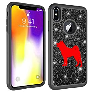 Glitter Bling Sparkle Shockproof Protective Hard Soft Case Cover for Apple iPhone Akita (Black, for Apple iPhone 6 / iPhone 6s) 13