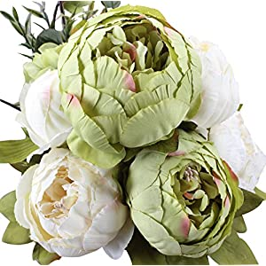 Duovlo Fake Flowers Vintage Artificial Peony Silk Flowers Wedding Home Decoration,Pack of 1 (New Green) 50