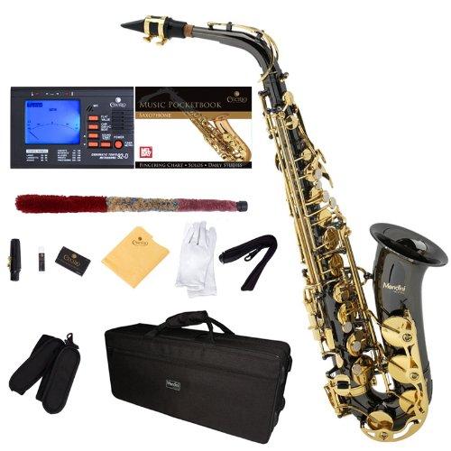 Saxofón alto negro/oro Mendini, boquilla, funda xmp