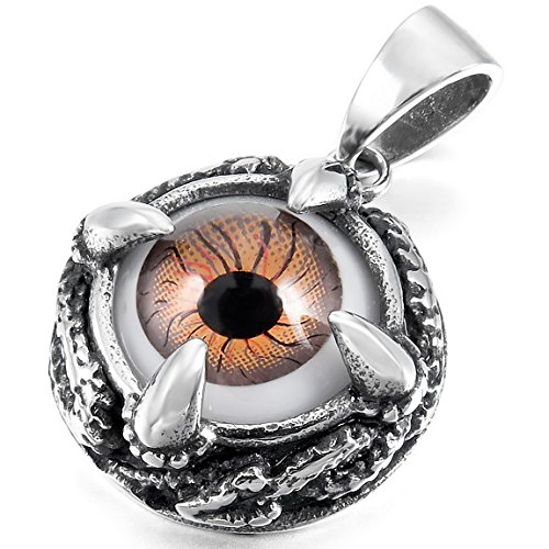 Snake Pendant Brown (INBLUE Men's Stainless Steel Pendant Necklace Silver Tone Black Brown Skull Dragon Claw Evil Eye Snake -With 23 Inch Chain)