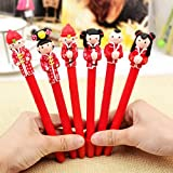 KitMax (TM) Pack of 6 Pcs 0.5mm Cute Cool Novelty Chinese Ancient Cartoon Polymer Clay Ballpoint Pen Office School Supplies Students Children Gift (Color & Style May Vary)