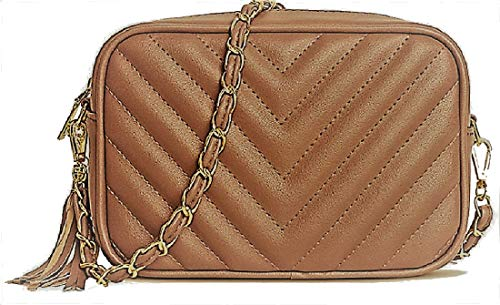 Gossip Girl - Designer Inspired Quilted Faux Leather Chevron Tassel Shoulder Clutch Bag Evening Cross Body With Gold Chain Strap Ideal For Prom, Parties, Bridal, Weddings Disco Chevron - Bronze