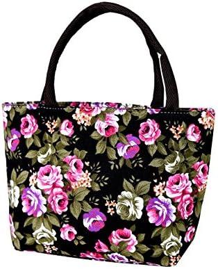 Aikesi Bolsa Tote Hermosas Flores Bandolera Estilo de impresión Bolsos de Mano Compras de Ocio Bolsa de Tela Algodón y Lino Size 30 * 20 * 8cm (Negro): Amazon.es: Hogar