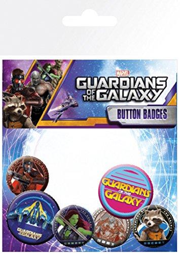 1art1 Set: Guardiani della Galassia, Personaggi, 4 X 25mm & 2 X 32mm Badge Set di Badge (15x10 cm) E 1 Sticker Sorpresa 1art1®