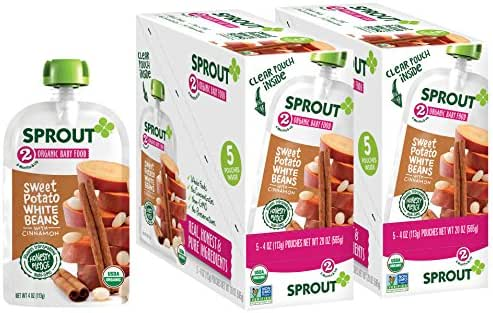 Sprout Organic Stage 2 Baby Food Pouches, Sweet Potato White Bean w/ Cinnamon, 4 Ounce (Pack of 10)
