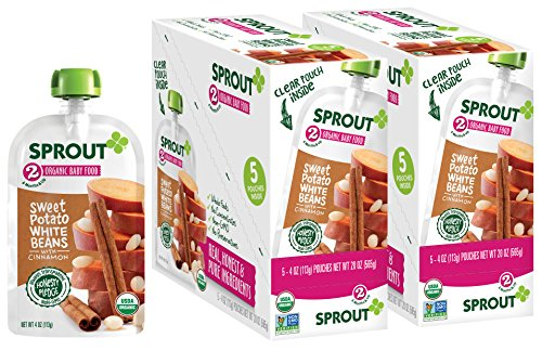 Sprout Organic Stage 2 Baby Food Pouches, Sweet Potato White Bean w/ Cinnamon, 4 Ounce (Pack of -