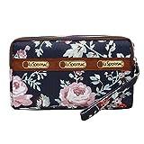 Women Wristlet Bag Wallet Three Layers Handbag Purse Phone Pouch with Flowers Pattern