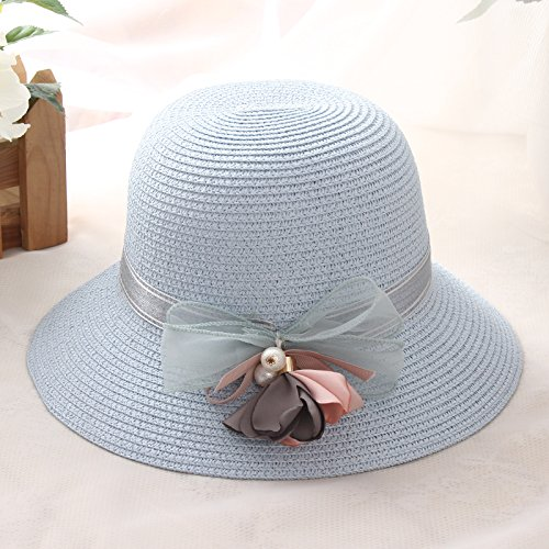 RangYR Women's Hat Ms Cap Sun Hat Pearl Flower Collapsible Straw Hat Adjustable Size (56-58Cm) ()