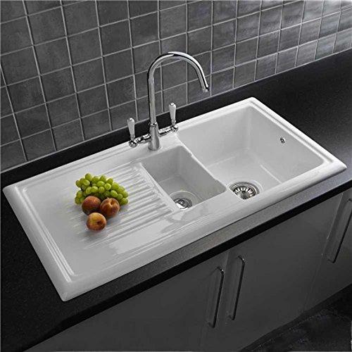 Reginox 1.5 Bowl White Ceramic Fully Reversible Kitchen Sink & Waste