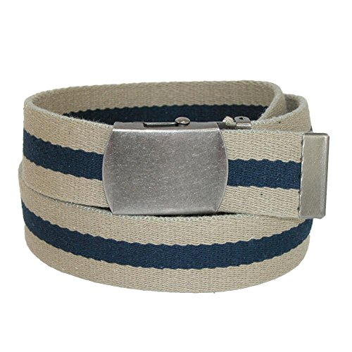 CTM Cotton Web 1.5 Inch Striped Adjustable Belt, Khaki/Navy Cotton Striped Belt