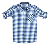 Bienzoe Boys Plaid Shirt Cotton Roll up Sleeve Button Down Blue Grey Sports Shirts 7/8