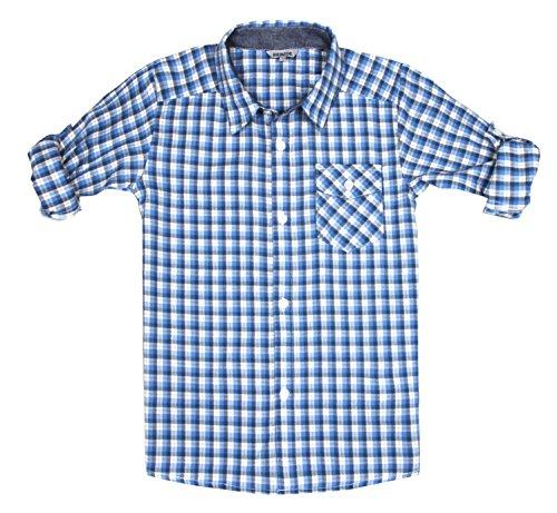 Bienzoe Boys Plaid Cotton Roll Up Button Down Blue Grey Sports Shirts 11/12]()