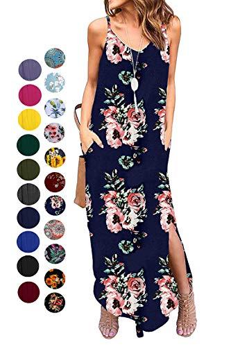 Kyerivs Women's Summer Casual Loose Dress Beach Cover Up Long Cami Maxi Dresses (Blue Flower, XXL(22W))