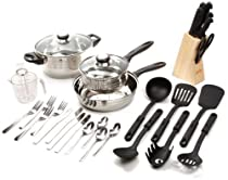 Gibson Lybra Cookware Combo Set, 32-Piece, Mirror Polished Stainless Steel by Gibson