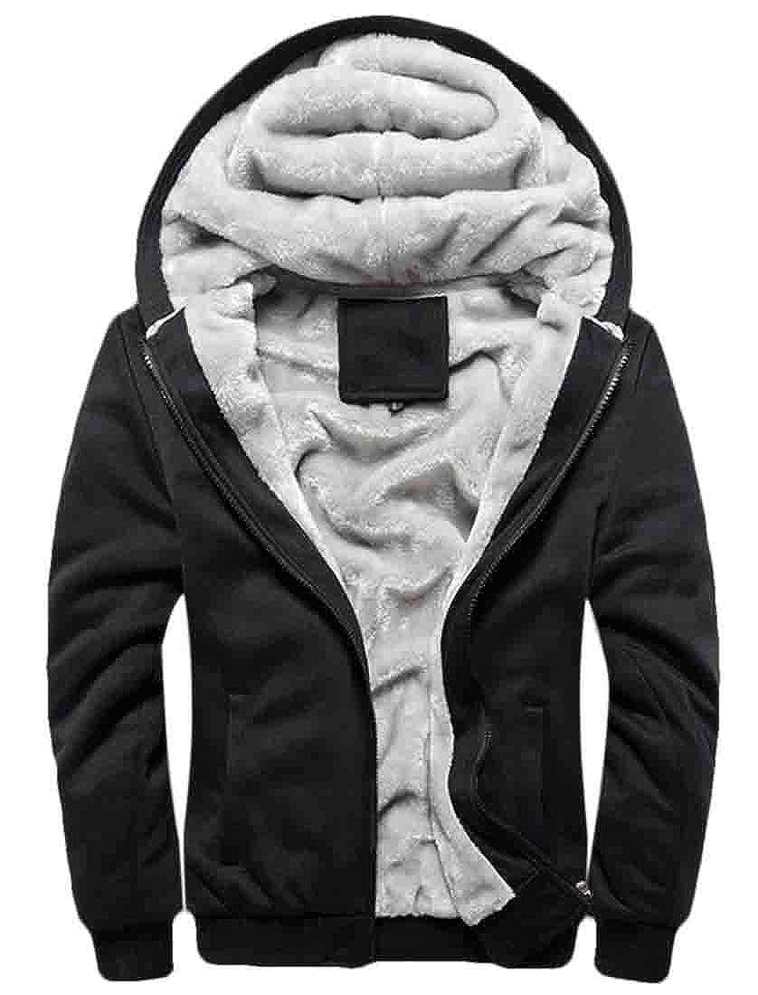 Domple Mens Winter Warm Fleece Lined Heavyweight Hoodie Hooded Sweatshirt Jacket Coat