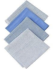ARAD - Juego de 4 pañuelos para hombre, 100% algodón suave con costuras, azul liso, colores surtidos, 40 x 16 pulgadas