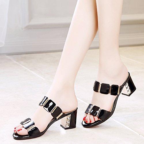 HBDLH Calzado de mujer/transpirable/cómodo/En Verano Cool Zapatillas Hembra Medio Tacón Rough Heels Taladro De Agua Bromeando Dedos De Los Pies black