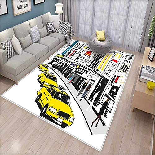 Modern Girls Bedroom Rug Times Square New York with People in Street Taxi Cabs Traffic Fashion Illustration Bath Mats for Floors Multicolor