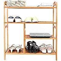 4 Tier Entryway Shelving Holder Shoe Shelf Storage Organizer (Bamboo)
