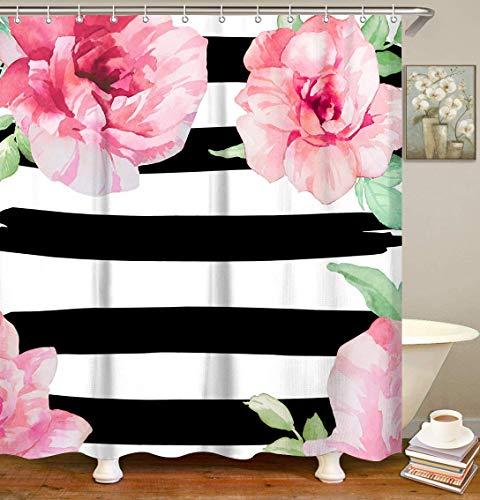 LIVILAN Black and White Stripe Shower Curtain Set with 12 Hooks, Waterproof Fabric Bath Curtain, 70.8