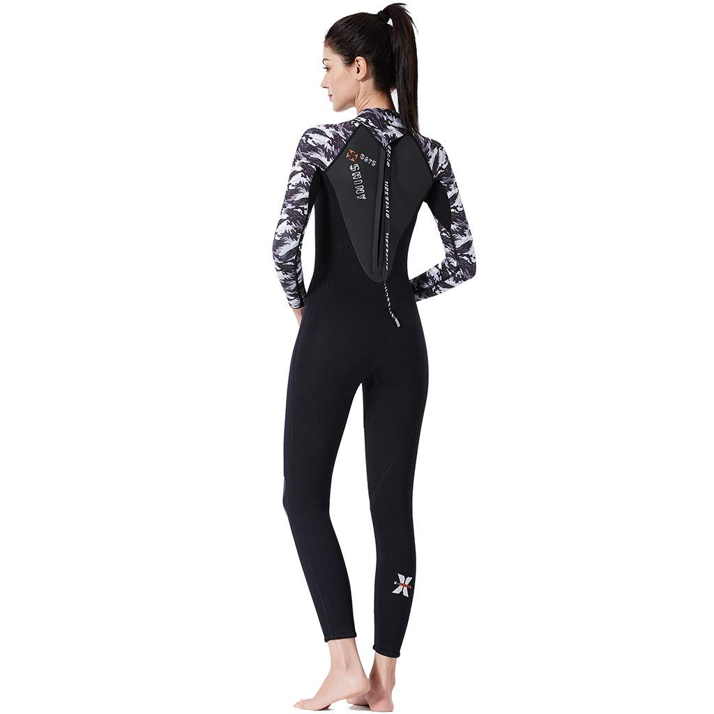 TANLANG Men Women Full Wetsuits Wetsuit Back Zip Long Sleeve for Diving Surfing Snorkeling One-Piece Wet Suit White by TANLANG (Image #2)