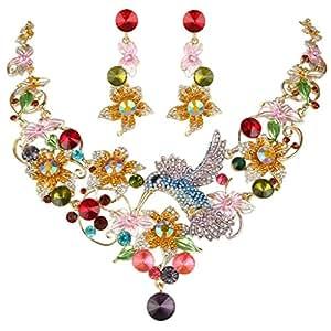 EVER FAITH Hummingbird Flower Leaf Necklace Earrings Set Austrian Crystal Gold-Tone Multicolor