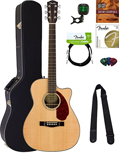 Fender CC-140SCE Concert Acoustic-Electric Guitar – Natural Bundle with Hard Case, Tuner, Strap, Strings, Picks, Instructional DVD, and Austin Bazaar Polishing Cloth