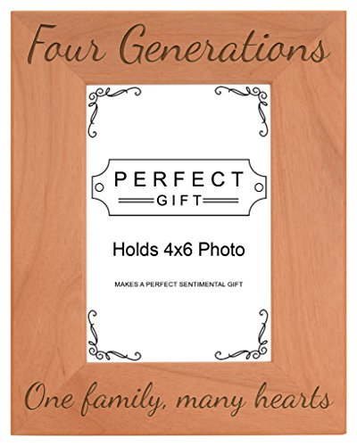 Gifts For All By Rachel Olevia Four Generations One Family Many Hearts Natural Wood Engraved 4x6 Portrait Picture Frame Wood Colorado Portrait Picture Frame