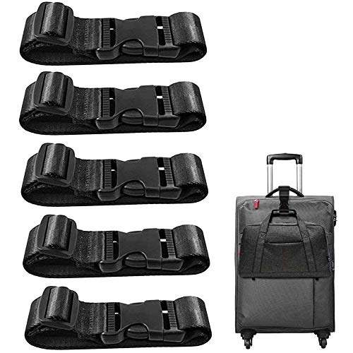 CKANDAY Travel Suitcase Bag Luggage Strap Adjustable Belt Attachment for Connect Your 3 Luggage Together – Black 5 Pack