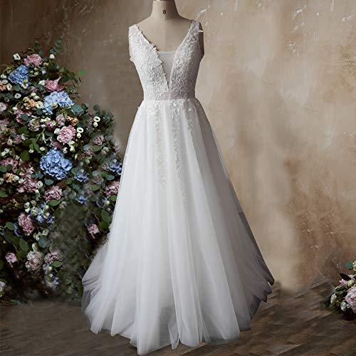 f3e97dd92 Abaowedding Women's Wedding Dress for Bride Lace Applique Evening Dress V  Neck Straps Ball Gowns Ivory
