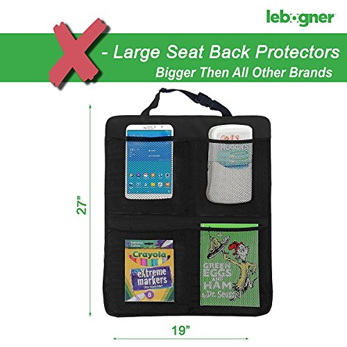 lebogner Car Seat Protector + Kick Mat Auto Seat Back Protector With 4 Organizer Pockets, Durable Quality Seat Covers + Waterproof Kick Guards To Protect Your Leather And Upholstery Seats From Damage by lebogner (Image #2)