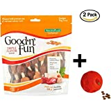 Good'n'Fun Triple Flavored Kabobs Rawhide Chews for Dogs 2-Pack + Dog Toy