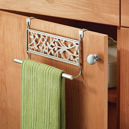 mDesign Kitchen Over-the-Cabinet Vine Towel Bars for Hand Towels, Dish Towels - Pack of 2, Satin
