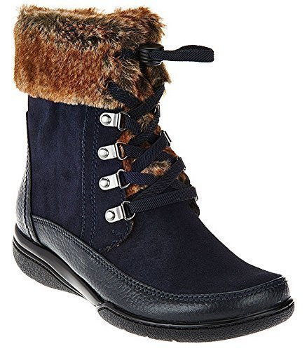 Clarks Womens Kearns Ramsey Ankle Boot,Navy Warm Lined Leather,US 8 M