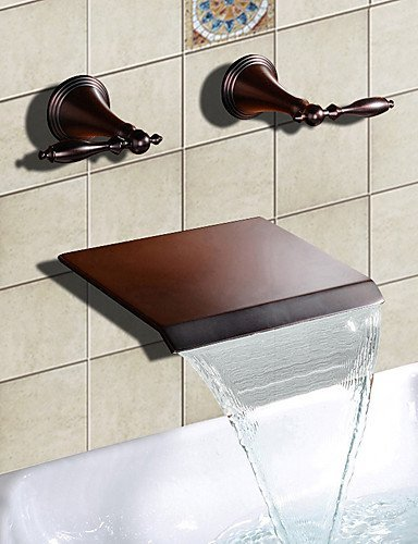 Dahuuyus Modern Taps Mixer Kitchen Sink Taps Widespread Waterfall Bathroom Ceramic cartridge Bathtub Faucet Bathtub Faucet - Antique - Waterfall Oil-rubbed Bronze) by Dahuuyus Faucet