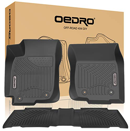 oEdRo Floor Mats Compatible for 2013-2018 Toyota RAV4, Unique Black TPE All-Weather Guard Includes 1st and 2nd Row: Front, Rear, Full Set Liners (Standard Models Only) (Set Rear Mat Heavyweight)