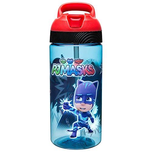 Zak Designs PJ Masks 19 oz. Plastic Water Bottle, Catboy, Owlette & Gekko