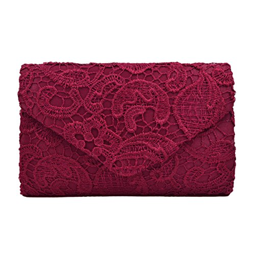 Lace Paisley Floral Fabric Satin Envelope Flap Clutch Evening Bag, Burgundy by TrendsBlue