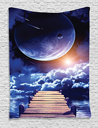 Outer Space Tapestry Fantasy Decor by Ambesonne, Watching a Meteor Rain from a Wooden Dock Under the Sunlight Print, Bedroom Living Teens Room Dorm Accessories Wall Hanging Tapestry, Navy - Gifts Meteor