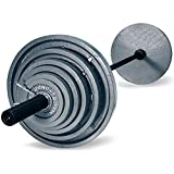 Harvil 300-Pound Gray Olympic Weight Set with 7 Feet Black Bar, 14 Solid Cast Iron Olympic Plates and 2 Spring Collars