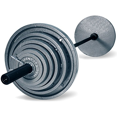 Harvil 300-Pound Gray Olympic Weight Set with 7 Feet Black Bar, 14 Solid Cast Iron Olympic Plates and 2 Spring Collars by Harvil