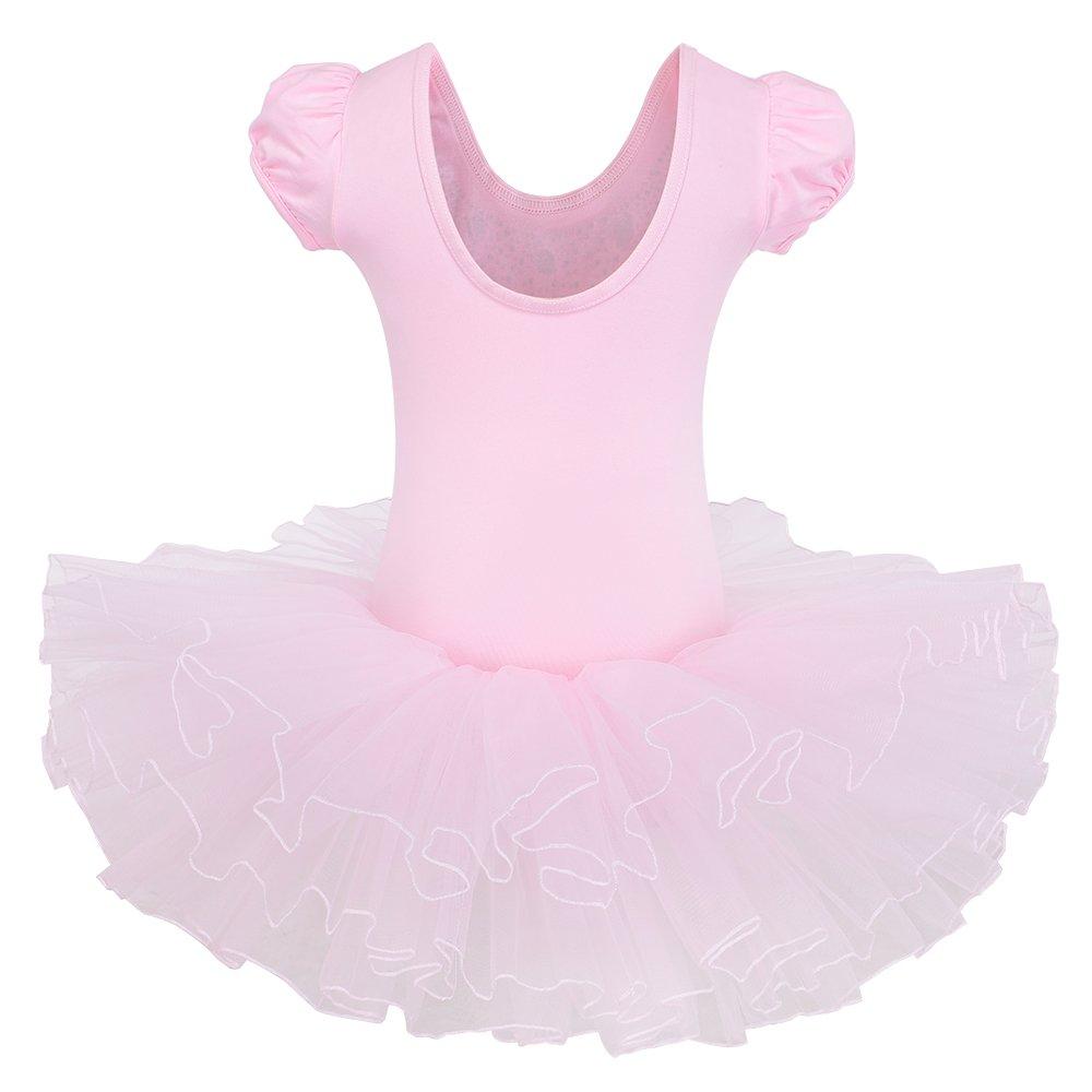 b76b1a7f904c BAOHULU Kids Leotards Dance Short Sleeve Rhinestone Ballet Tutu ...