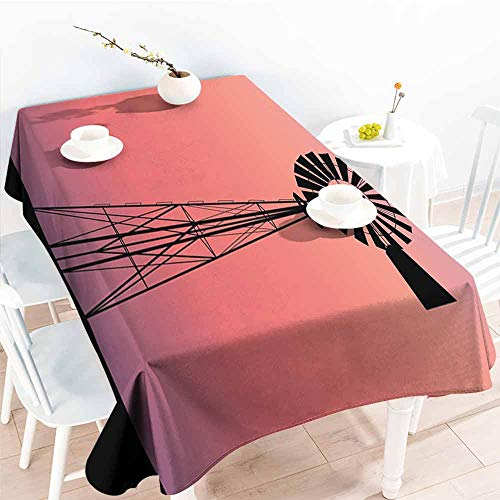 Zippered Ranch - Onefzc Washable Tablecloth,Windmill Decor Windmill Silhouette at Dreamlike Sunset Western Ranch Agriculture,Dinner Picnic Table Cloth Home Decoration,W50x80L Coral Lilac Black