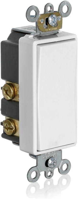 Leviton 56080-2W Momentary Contact SPST Decora Plus Rocker Switch, White