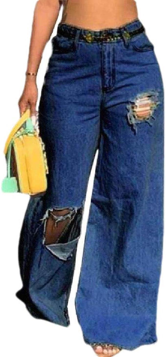 EnergyWD 女性バギーワイドレッグパンツ苦悩ウォッシュドデニムパンツポケット付き